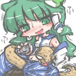 1girl detached_sleeves frog frog_hair_ornament green_eyes hair_ornament hair_tubes kochiya_sanae kureha_mitsushige long_hair sleeveless snake snake_hair_ornament touhou