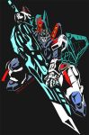 1boy aircraft airplane blue_eyes decepticon full_body glowing glowing_eyes holding jet kamizono_(spookyhouse) machine machinery mecha robot science_fiction solo starscream sword transformers transformers_energon transformers_superlink weapon