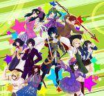 aoi_itsuki artist_request atlus blue_hair breasts genei_ibunroku_#fe green_hair kurono_kiria multiple_boys multiple_girls nintendo oribe_tsubasa skirt smile sword weapon