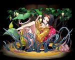 barefoot bellsprout black_hair cleavage cosmo_(465lilia) cosmo_(pixiv12140406) erika_(pokemon) gym_leader japanese_clothes kimono pokemon puzzle_&_dragons short_hair victreebel vines
