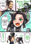 >_< /\/\/\ 1boy 1girl =_= anger_vein black_hair blush braided_beard brother_and_sister brown_eyes brown_hair closed_eyes comic english facial_hair fang genderswap genji_(overwatch) goatee green_eyes hair_ribbon hanzo_(overwatch) headwear_removed heart helmet helmet_removed hitting middle_finger open_mouth overwatch phandit_thirathon ponytail ribbon siblings