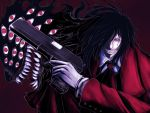 1boy alucard_(hellsing) black_hair eyes gun hair_over_one_eye hellsing highres long_hair male_focus red_eyes satou_aji smile solo weapon
