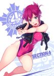 1girl :d aiming arm arms_up bare_arms bare_legs bare_shoulders barefoot blue_eyes breasts competition_swimsuit covered_navel english female folded_ponytail glint gluteal_fold gun hair_ornament hair_up handgun head_tilt highleg highleg_swimsuit highres holding holding_gun holding_weapon large_breasts leg_up legs leotard one-piece_swimsuit open_mouth pink_leotard pink_swimsuit pistol purple_hair rail_wars! sakurai_aoi scan short_hair smile solo swimsuit thighs vania600 vest weapon zipper