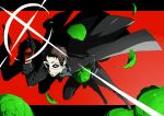 1boy adachi_tooru arisawa_kuro arizuka_(catacombe) black_hair cabbage cosplay domino_mask gun highres holding holding_weapon kurusu_akira kurusu_akira_(cosplay) letterboxed lettuce looking_at_viewer male_focus mask persona persona_4 persona_5 protagonist_(persona_5)_cosplay red_background red_eyes smile solo weapon