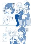 2girls :d ahoge bare_shoulders blush braid braiding_hair check_translation closed_eyes comic commentary_request elbow_gloves gloves hair_ribbon hairdressing highres kantai_collection kneehighs monochrome multiple_girls neckerchief necktie open_mouth pleated_skirt remodel_(kantai_collection) ribbon school_uniform serafuku shigure_(kantai_collection) shimazaki_mujirushi single_braid skirt smile thigh-highs translated translation_request umikaze_(kantai_collection)