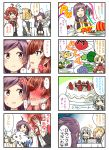 4girls 4koma :d ;d ^_^ ^o^ ahoge arashi_(kantai_collection) arms_behind_back ascot asymmetrical_hair birthday_cake black_vest blonde_hair blush broccoli buttons cake candle closed_eyes collared_shirt comic commentary_request embarrassed eyebrows eyebrows_visible_through_hair eyelashes faceless food fruit full-face_blush gloves goma-chan hagikaze_(kantai_collection) hair_tie hands_together hat highres jitome kamelie kantai_collection kerchief kirby_(series) long_hair maikaze_(kantai_collection) mask maxim_tomato multiple_girls neck_ribbon necktie nowaki_(kantai_collection) oddish one_eye_closed open_mouth party_popper plate pleated_skirt pocket pokemon pokemon_(creature) ponytail potato purple_hair red_ascot red_ribbon redhead ribbon school_uniform serafuku shirt short_sleeves shounen_ashibe side_ponytail sidelocks silver_hair skirt smile speech_bubble strawberry sweatdrop the_legend_of_zelda the_legend_of_zelda:_majora's_mask thought_bubble tomato top_hat translation_request vest violet_eyes white_gloves white_shirt wing_collar wrist_grab yellow_necktie