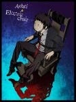 1boy adachi_tooru arisawa_kuro arizuka_(catacombe) blue_background bound bound_arms character_name covered_mouth electric_chair english engrish formal from_above highres jacket looking_at_viewer male_focus necktie open_clothes open_jacket persona persona_4 ranguage red_necktie sitting solo suit