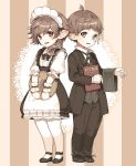 1boy 1girl apron brown_eyes brown_hair butler final_fantasy final_fantasy_xiv formal full_body gloves highres lalafell looking_at_viewer maid maid_apron maid_headdress menu monocle naguri pointy_ears red_eyes striped striped_background suit white_gloves white_legwear