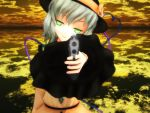 1girl 3d green_eyes gun hat komeiji_koishi mikumikudance solo touhou weapon