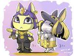1boy 1girl :< ankh ankha_(animal_crossing) bandage doubutsu_no_mori earring egyptian hat hoop_earrings jewelry lucky_(animal_crossing) necklace nintendo scepter tetemari