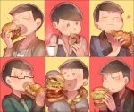 >:o 6+boys :o ahoge alternate_eye_color ayatoki-1 bangs black-framed_eyewear black_hair black_shirt blush bracelet bread brothers cheese chestnut_mouth closed_eyes closed_mouth coffee collage collared_shirt cup doughnut dress_shirt eating fang food formal glasses green_eyes half-closed_eyes hamburger heart heart_in_mouth highres holding holding_cup holding_food jacket jewelry long_sleeves male_focus matsuno_choromatsu matsuno_ichimatsu matsuno_juushimatsu matsuno_karamatsu matsuno_osomatsu matsuno_todomatsu messy_hair mug multiple_boys necklace necktie open_mouth osomatsu-kun osomatsu-san pendant polka_dot polka_dot_shirt red_background scarf semi-rimless_glasses sextuplets shirt shrimp siblings sleeves_past_wrists smelling smile steam striped striped_shirt suit sweater teeth tomato tongue under-rim_glasses upper_body vegetable vest violet_eyes white_shirt yellow_background yellow_eyes