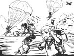 4girls aircraft airplane black_hair chii-kun_(seedyoulater) clouds female fubuki_(kantai_collection) hatsuyuki_(kantai_collection) kantai_collection miyuki_(kantai_collection) monochrome multiple_girls ocean open_mouth outdoors parachute school_uniform shirayuki_(kantai_collection) short_twintails skirt sky smokestack turret twintails uniform white_background