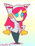 1girl animated animated_gif artist_name ass_shake blue_eyes blush blush_stickers cilviamirell female hairclip hips kirby:_planet_robobot kirby_(series) long_hair nintendo pink_hair robot robot_girl solo susie_(kirby) wide_hips