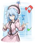 1girl blue_eyes blue_hair blush clenched_teeth grin hat highres kan_(aaaaari35) merlin_prismriver musical_note one_eye_closed raised_eyebrow smile solo teeth touhou