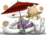 1girl blonde_hair frog hair_ribbon hat highres kan_(aaaaari35) lying miniskirt mishaguji moriya_suwako on_stomach oriental_umbrella pyonta ribbon skirt snake thigh-highs touhou umbrella white_background white_legwear white_snake wide_sleeves yellow_eyes zettai_ryouiki