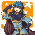 blue_eyes blue_hair cape fingerless_gloves fire_emblem fire_emblem:_monshou_no_nazo fire_emblem_mystery_of_the_emblem fire_emblem_shadow_dragon gloves hand_on_hip lowres marth smile tiara trap wink
