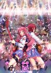 angel_beats! back-to-back confetti fang guitar highres instrument iwasawa jewelry long_hair multiple_girls nagareboshi open_mouth pink_eyes pink_hair red_eyes red_hair ribbon school_uniform sleeves_rolled_up yui_(angel_beats!)
