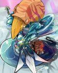 battle brown_hair capcom leo_(warzard) mononoke_(artist) mononoke_(empty) nool polearm shield sword trident warzard weapon