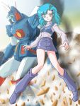 aqua_hair boots child elchi_cargo hair_ornament hairclip mecha miniskirt oldschool panties pantyshot sentou_mecha_xabungle skirt underwear upskirt walker_machine xabungle_(mecha) zummy zummy-flyer