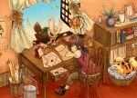 1girl book brown_hair calendar chair closed_eyes desk growlithe jar lamp leaves letter matsuri_(matsuike) noctowl oddish open_window paper pokemon window