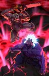 2boys armor battle blue_skin chainsaw crossover doom_(game) doomguy epic fangs glowing glowing_eyes glowing_hair gouki helmet jeffrey_cruz kuruoshiki_oni multiple_boys muscle red_eyes shirtless spiky_hair street_fighter street_fighter_iv_(series)