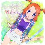 00s 1girl blue_eyes midriff mirei_(pokemon) orange_hair pokemon pokemon_(game) pokemon_colosseum skirt smile solo