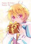 1boy blonde_hair free! hazuki_nagisa male_focus pink_eyes present tears watawata_(wtaawata)