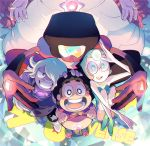 +_+ 1boy 4girls afro amethyst_(steven_universe) black_hair blue_eyes brown_eyes cartoon_network copyright_name dark_skin forehead_jewel garnet_(steven_universe) gem glasses glowing grin hair_over_one_eye hand_on_another's_head looking_at_viewer mother_and_son multiple_girls open_mouth orange_hair out_of_frame pale_skin pearl_(steven_universe) pink_hair pointy_nose purple_skin rose_quartz_universe salute shirt_lift sitting smile squatting star star-shaped_pupils steven_quartz_universe steven_universe stomach sunglasses symbol-shaped_pupils t_k_g teeth violet_eyes white_hair