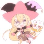 1girl blonde_hair book card detached_sleeves feather_boa hat long_hair magilou_(tales) open_mouth panties pink_eyes pointy_ears shoes tales_of_(series) tales_of_berseria thigh-highs underwear violet_eyes witch_hat