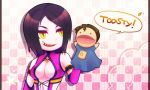 1girl black_hair breasts checkered_background cleavage dan_forden female food grin happy jpeg_artifacts mileena mortal_kombat pink_background puppet sharp_teeth short_hair solo teeth upper_body white_background yellow_eyes