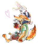 artist_request carrying disney drink fox from_side furry heart judy_hopps necktie nick_wilde no_humans paper_cup police police_uniform rabbit shoulder_carry simple_background sitting straw uniform white_background zootopia