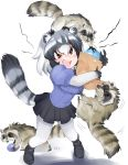 1girl absurdres angry animal animal_ears bag bangs biting black_bow black_footwear black_hair black_neckwear black_skirt blouse blue_blouse blush bow bowtie breast_grab breasts brown_eyes common_raccoon_(kemono_friends) dangling elbow_gloves extra_ears eyebrows_visible_through_hair eyelashes fingernails food food_theft full_body fur_collar furrowed_eyebrows gloves grabbing grey_hair hair_between_eyes highres holding holding_bag holding_food japari_bun kemono_friends leaning_forward loafers medium_breasts miniskirt motion_lines multicolored multicolored_clothes multicolored_gloves multicolored_hair open_mouth pantyhose paper_bag pigeon-toed pleated_skirt puffy_short_sleeves puffy_sleeves raccoon raccoon_ears raccoon_tail running ryou_(cagw5223) shadow sharp_fingernails sharp_teeth shoes short_sleeves shouting skirt solo standing sweat tail teeth theft white_background white_gloves white_hair white_legwear