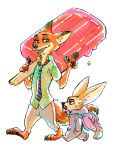 animal_costume artist_request carrying disney elephant_costume finnick_(zootopia) fox furry hands_in_pockets necktie nick_wilde no_humans oversized pacifier popsicle simple_background walking white_background zootopia