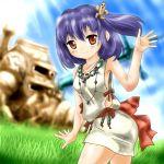 1girl artist_request ass blue_hair brown_eyes female grass haniwa_(statue) kofun_period nature original outdoors plant sky solo