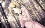 1girl aqua_eyes blonde_hair blush female forest green_eyes highres hisagihara_ui long_hair ribbons snow solo suzukaze_no_melt tenmaso tree twintails winter