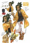 2boys absurdres age_difference backpack bag basket character_name character_sheet child closed_eyes coat dark_skin dark_skinned_male dc9spot green_eyes green_hair hair_ornament hairclip hand_in_pocket hat hau_(pokemon) highres malasada male_focus male_protagonist_(pokemon_sm) multiple_boys older pokemon pokemon_(creature) pokemon_(game) pokemon_sm sandals shirt shorts simple_background smile stretch t-shirt tapu_koko topknot upper_body waving white_background z-ring