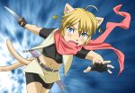 1girl animal_ears attacking blonde_hair blue_eyes cat fang female furry gradient gradient_background midriff navel open_mouth platin_(alios) short_hair skirt solo