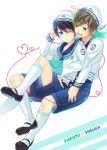 2boys free! gesshi male_focus multiple_boys nanase_haruka_(free!) sailor_uniform shorts tachibana_makoto tagme wink younger