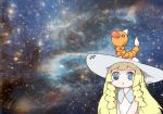 1girl bangs bare_arms blonde_hair blunt_bangs braid collared_dress commentary dress hat lillie_(pokemon) long_hair mato_tsuyoi parody pokemon pokemon_(creature) pokemon_(game) pokemon_sm sleeveless sleeveless_dress solo space star_(sky) sun_hat sundress twin_braids weedle white_dress white_hat