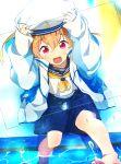 1boy blonde_hair free! hat hazuki_nagisa male_focus pink_eyes sailor_uniform younger