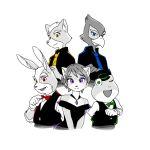 1girl 4boys dress falco_lombardi fox_mccloud furry group krystal monochrome multiple_boys multiple_monochrome nintendo peppy_hare slippy_toad star_fox suit white_background