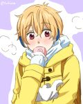 1boy blonde_hair blush food free! hazuki_nagisa male_focus pink_eyes