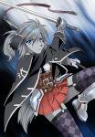 1girl armor blue_eyes dog female furry gradient gradient_background grey_hair platin_(alios) ponytail short_hair skirt solo sword