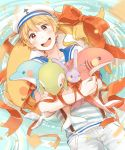 1boy blonde_hair free! hat hazuki_nagisa male_focus pink_eyes sailor_uniform