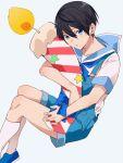 1boy high_speed! male_focus nanase_haruka_(free!) sailor_uniform shouno_kotarou suspenders