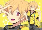 1boy blonde_hair free! hazuki_nagisa male_focus pink_eyes v wink