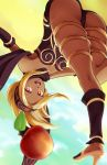 1girl apple ass blonde_hair dark_skin gravity_daze kitten_(gravity_daze) looking_at_viewer lyn_(shunao) midair red_eyes solo