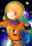 1boy :p astronaut blonde_hair free! hazuki_nagisa male_focus pink_eyes space tongue tongue_out wink