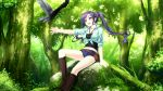 '&'_-sora_no_mukou_de_sakimasu_you_ni- 1girl akatsuki-works animal bird boots female forest game_cg highres jewelry long_hair nature necklace outdoors ponytail renjou_yae saeki_hokuto tree