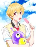 1boy blonde_hair free! hazuki_nagisa male_focus pink_eyes